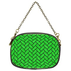 Brick2 Black Marble & Green Colored Pencil (r) Chain Purses (two Sides)