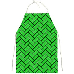 Brick2 Black Marble & Green Colored Pencil (r) Full Print Aprons