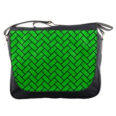 Brick2 Black Marble & Green Colored Pencil (r) Messenger Bags