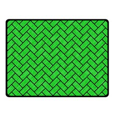 Brick2 Black Marble & Green Colored Pencil (r) Double Sided Fleece Blanket (small)
