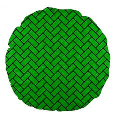 Brick2 Black Marble & Green Colored Pencil (r) Large 18  Premium Flano Round Cushions