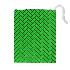 Brick2 Black Marble & Green Colored Pencil (r) Drawstring Pouches (extra Large)