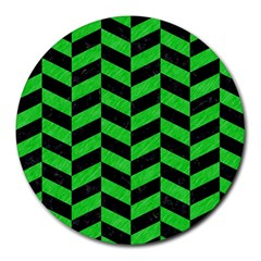 Chevron1 Black Marble & Green Colored Pencil Round Mousepads