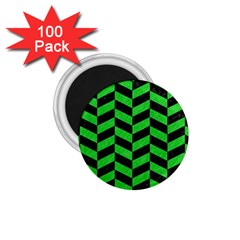Chevron1 Black Marble & Green Colored Pencil 1 75  Magnets (100 Pack)