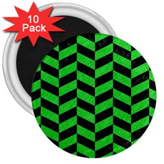 Chevron1 Black Marble & Green Colored Pencil 3  Magnets (10 Pack)