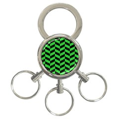 Chevron1 Black Marble & Green Colored Pencil 3 Ring Key Chains