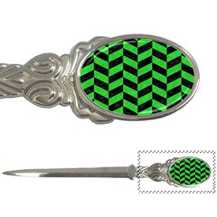 Chevron1 Black Marble & Green Colored Pencil Letter Openers
