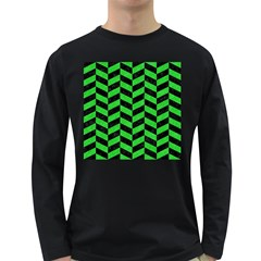 Chevron1 Black Marble & Green Colored Pencil Long Sleeve Dark T Shirts