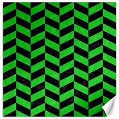 Chevron1 Black Marble & Green Colored Pencil Canvas 20  X 20