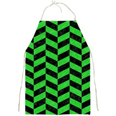 Chevron1 Black Marble & Green Colored Pencil Full Print Aprons