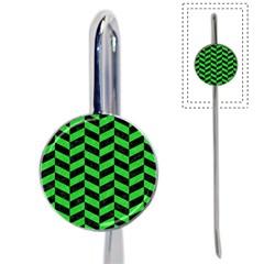 Chevron1 Black Marble & Green Colored Pencil Book Mark