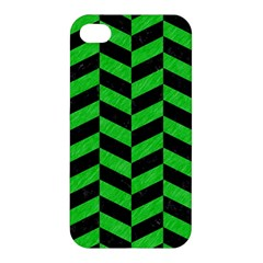 Chevron1 Black Marble & Green Colored Pencil Apple Iphone 4/4s Premium Hardshell Case