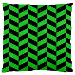 Chevron1 Black Marble & Green Colored Pencil Large Cushion Case (two Sides)