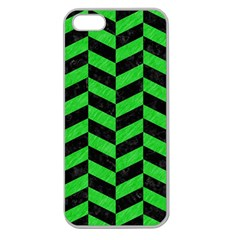 Chevron1 Black Marble & Green Colored Pencil Apple Seamless Iphone 5 Case (clear)