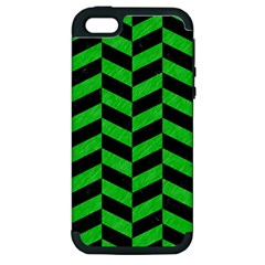 Chevron1 Black Marble & Green Colored Pencil Apple Iphone 5 Hardshell Case (pc+silicone)