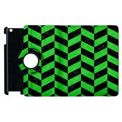 Chevron1 Black Marble & Green Colored Pencil Apple Ipad 2 Flip 360 Case