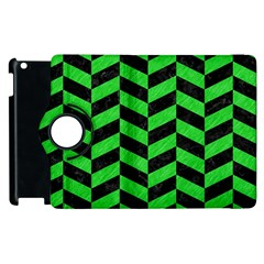Chevron1 Black Marble & Green Colored Pencil Apple Ipad 3/4 Flip 360 Case