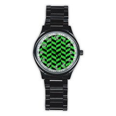Chevron1 Black Marble & Green Colored Pencil Stainless Steel Round Watch