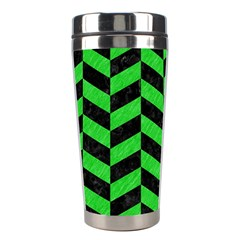 Chevron1 Black Marble & Green Colored Pencil Stainless Steel Travel Tumblers
