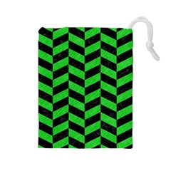 Chevron1 Black Marble & Green Colored Pencil Drawstring Pouches (large)