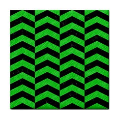 Chevron2 Black Marble & Green Colored Pencil Tile Coasters