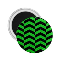 Chevron2 Black Marble & Green Colored Pencil 2 25  Magnets