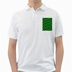 Chevron2 Black Marble & Green Colored Pencil Golf Shirts