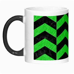 Chevron2 Black Marble & Green Colored Pencil Morph Mugs