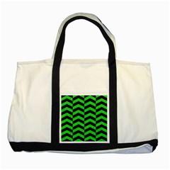 Chevron2 Black Marble & Green Colored Pencil Two Tone Tote Bag