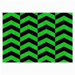 CHEVRON2 BLACK MARBLE & GREEN COLORED PENCIL Large Glasses Cloth Front