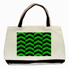 Chevron2 Black Marble & Green Colored Pencil Basic Tote Bag (two Sides)