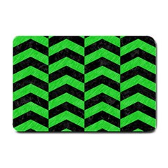 Chevron2 Black Marble & Green Colored Pencil Small Doormat