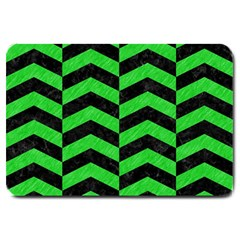 Chevron2 Black Marble & Green Colored Pencil Large Doormat