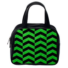 Chevron2 Black Marble & Green Colored Pencil Classic Handbags (one Side)
