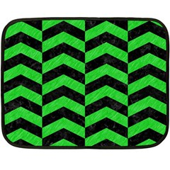 Chevron2 Black Marble & Green Colored Pencil Double Sided Fleece Blanket (mini)