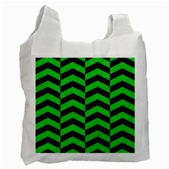 Chevron2 Black Marble & Green Colored Pencil Recycle Bag (one Side)