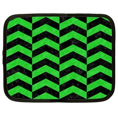 Chevron2 Black Marble & Green Colored Pencil Netbook Case (xxl)
