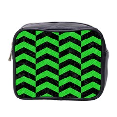 Chevron2 Black Marble & Green Colored Pencil Mini Toiletries Bag 2 Side