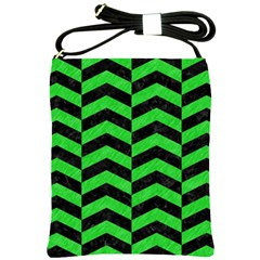 Chevron2 Black Marble & Green Colored Pencil Shoulder Sling Bags
