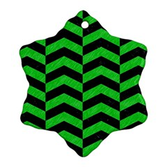 Chevron2 Black Marble & Green Colored Pencil Ornament (snowflake)
