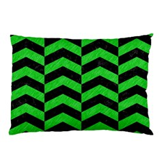 Chevron2 Black Marble & Green Colored Pencil Pillow Case (two Sides)