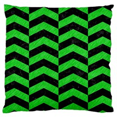 Chevron2 Black Marble & Green Colored Pencil Large Cushion Case (two Sides)