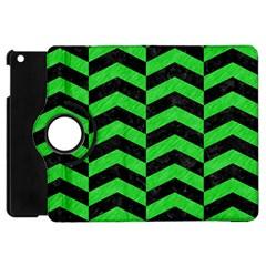 Chevron2 Black Marble & Green Colored Pencil Apple Ipad Mini Flip 360 Case