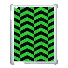 Chevron2 Black Marble & Green Colored Pencil Apple Ipad 3/4 Case (white)
