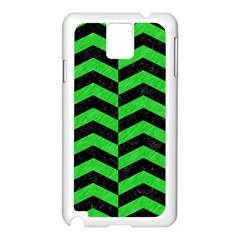 Chevron2 Black Marble & Green Colored Pencil Samsung Galaxy Note 3 N9005 Case (white)