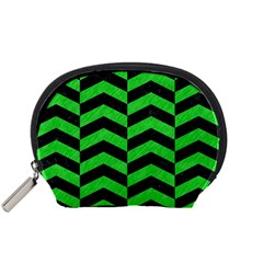 Chevron2 Black Marble & Green Colored Pencil Accessory Pouches (small)