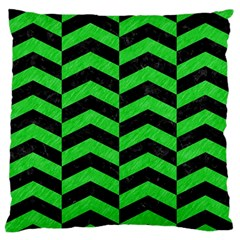 Chevron2 Black Marble & Green Colored Pencil Standard Flano Cushion Case (two Sides)