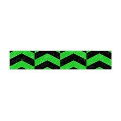 Chevron2 Black Marble & Green Colored Pencil Flano Scarf (mini)