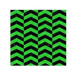 Chevron2 Black Marble & Green Colored Pencil Small Satin Scarf (square)