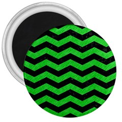 Chevron3 Black Marble & Green Colored Pencil 3  Magnets